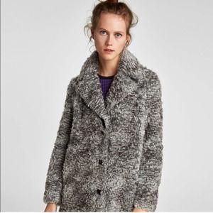 Zara Faux Fur Grey Marl Oversized Duster Coat